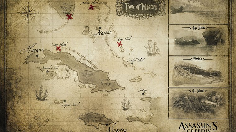 Assassins creed 4 black flag world map attack of the fanboy a map has been discovered for assassins creed 4 black flag a map that outlines the game world of upcoming pirate themed assassins creed title gumiabroncs Gallery