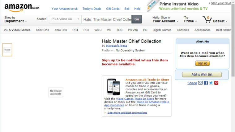 Halo the master chief collection amazon uk pc listing