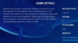 Journey PlayStation 4 Release Date Leaked Via Sony Website