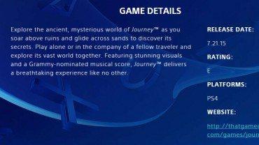 Journey PlayStation 4 Release Date Leaked Via Sony Website
