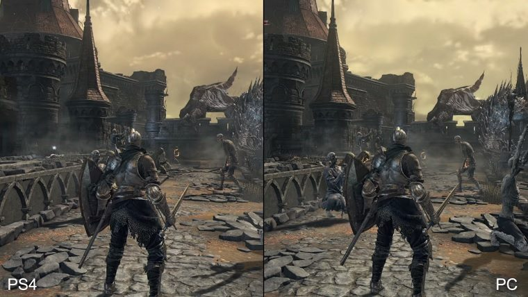dark souls 3 pc vs ps4 video compares graphics and frame. Black Bedroom Furniture Sets. Home Design Ideas