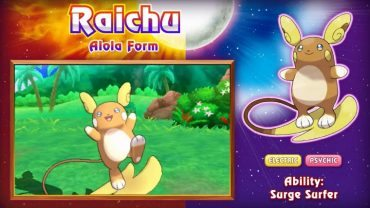 Pokemon Sun and Moon will have a New Surfing Raichu