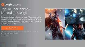 EA's Origin Access Offering A 7 Day Free Trial For A Limited Time