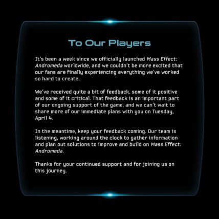 Mass Effect Andromeda Improvements Coming Soon News  Mass Effect Andromeda Bioware