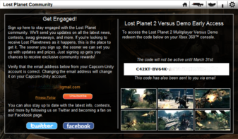 Capcom key giveaway for Lost Planet 2 Demo starts Now!