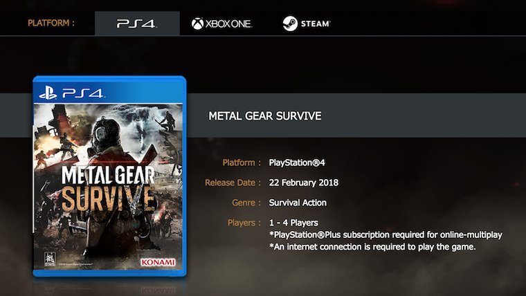 Metal Gear Survive PC Version Confirmed, Requires Internet Connection to Play News  Xbox One PS4 PC Gaming Metal Gear Survive Metal Gear