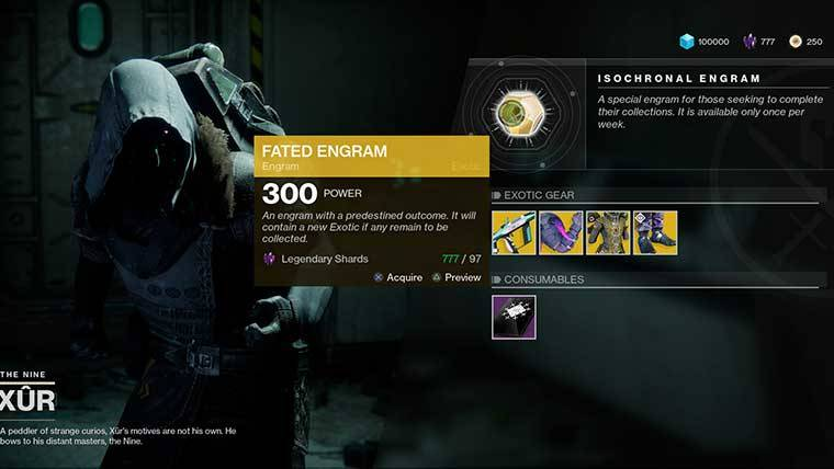 fated engram xur