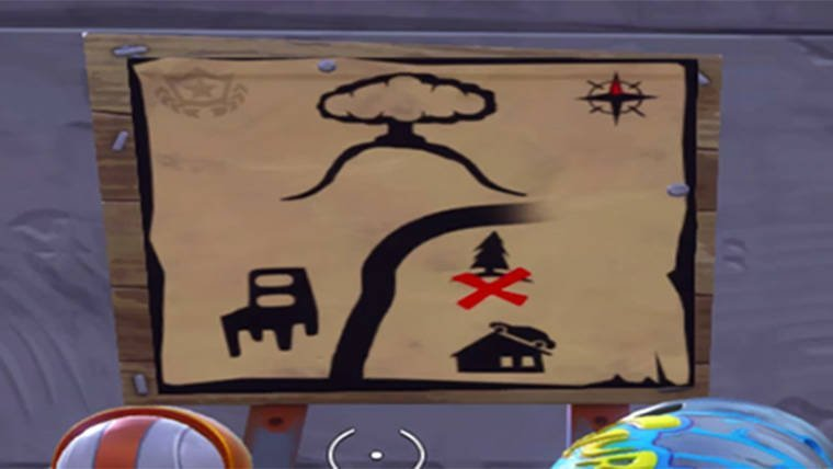 Fortnite battle royale treasure map location for battle for Chair in fortnite