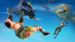 Fortnite Battlebus and players skydiving