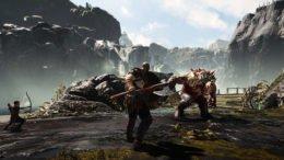 Kratos and Atreus Combat God of War