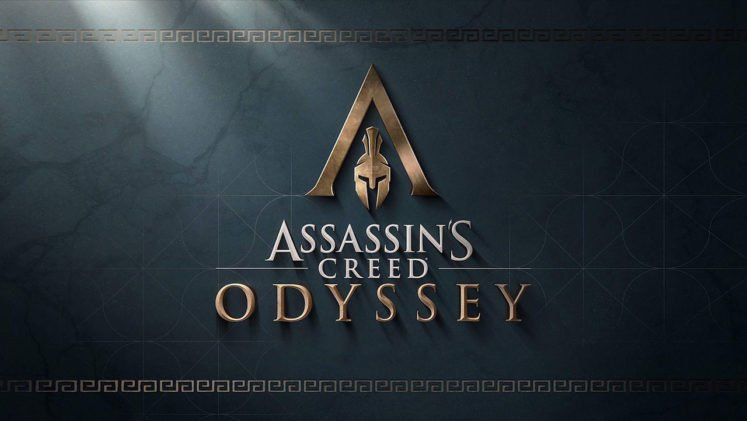 Assassins Creed Odyssey Official Logo Spartan Helmet on Green Background