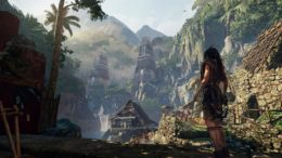 Lara in an ancient village