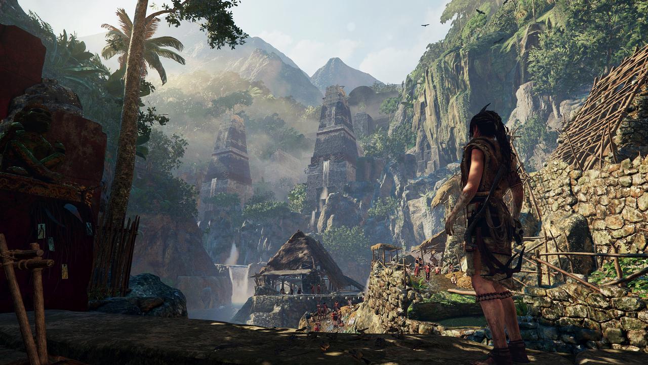 Lara in an ancient village