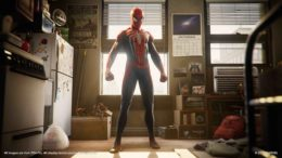 SpiderMan standing in his room