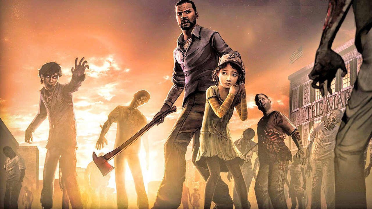 Lee and Clementine with zombies
