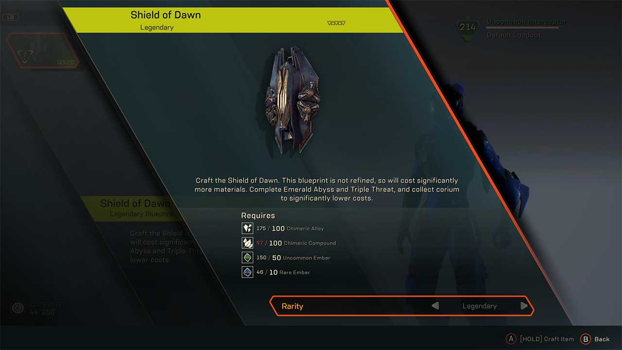 Anthem: How to Get Corium for Crafting the Shield of Dawn