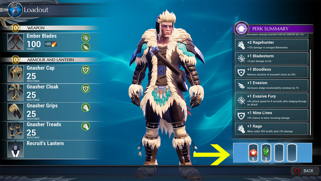Dauntless How to Equip Blitz Tonic and Use Consumables in
