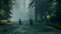 Two characters driving away on their motorcycle in the Days Gone PC features video