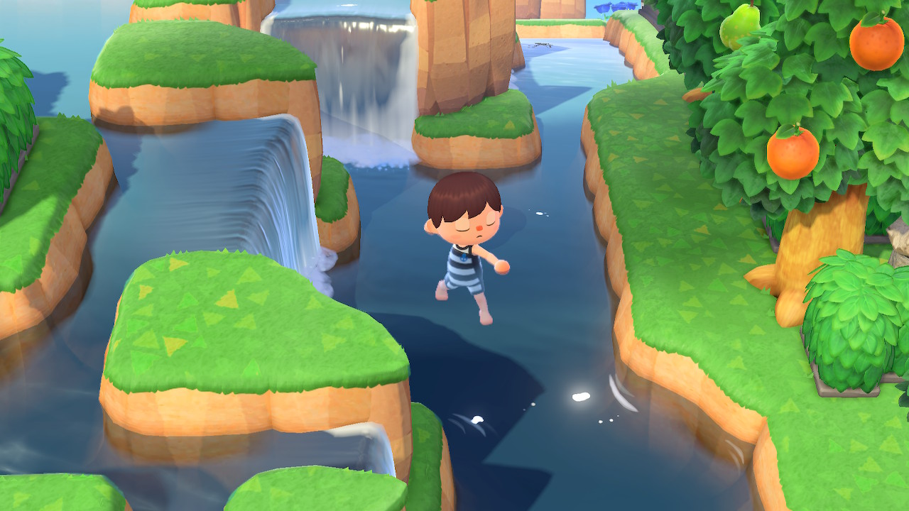 Example of glitching into water in animal crossing new horizons