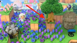 Example of a tree on a cliff in Animal Crossing New Horizons