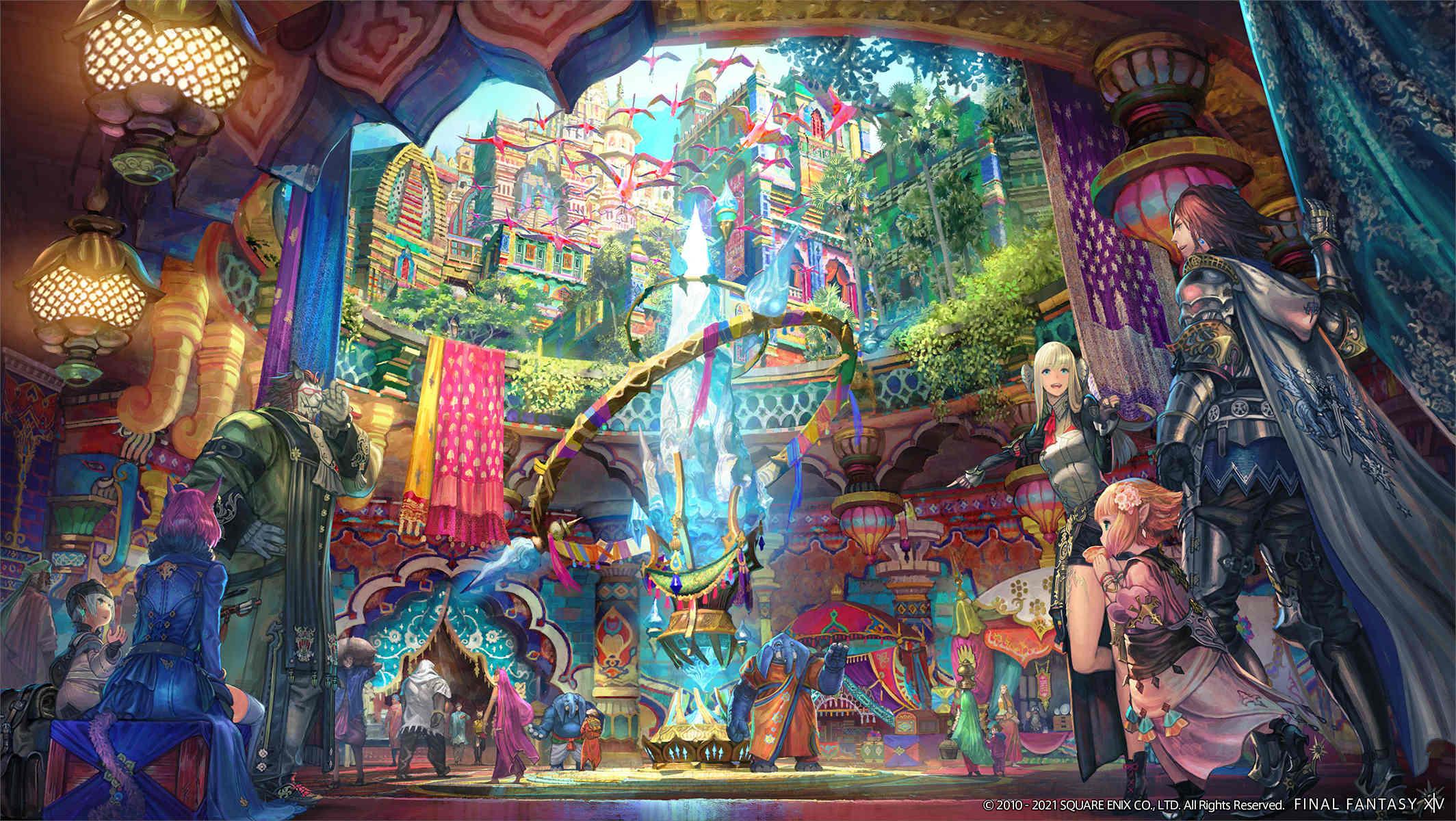 FFXIV-Endwalker-Busy-City-Official-Artwork