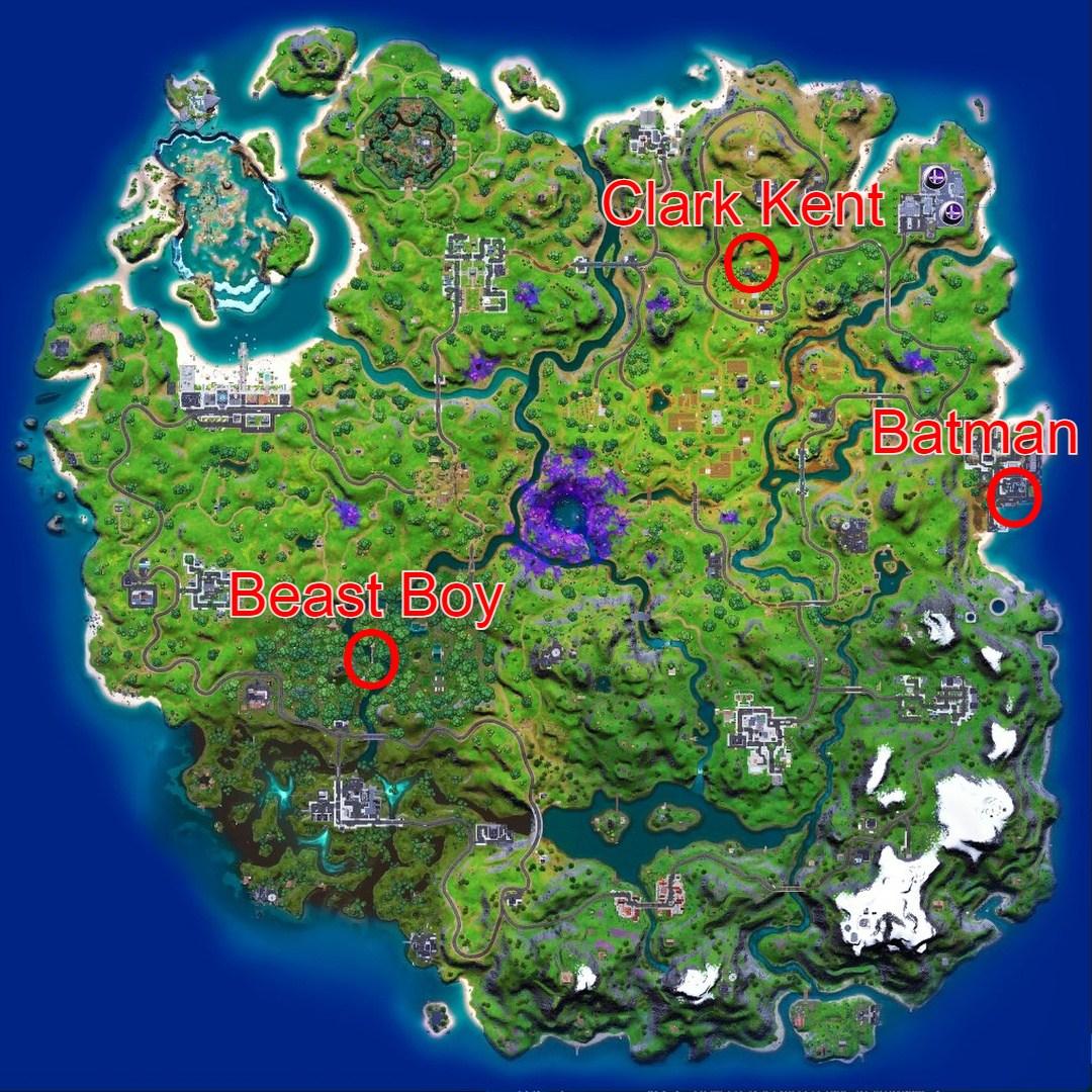 Fortnite-Clark-Kent-Armored-Batman-Beast-Boy-Locations-Map
