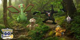 Mythical Pokémon Zarude,Pikachu, Nuzleaf, Flygon and Rufflet standing in a forest with Pokémon GO logo