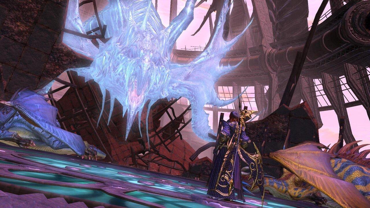Menacing dragon towering tall over a Final Fantasy XIV character