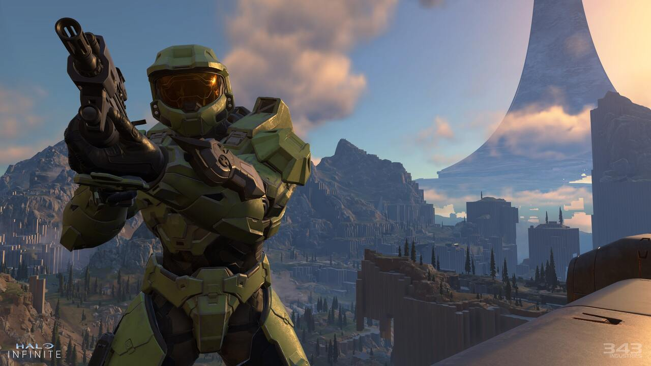 Master Chief standing over an expansive vista