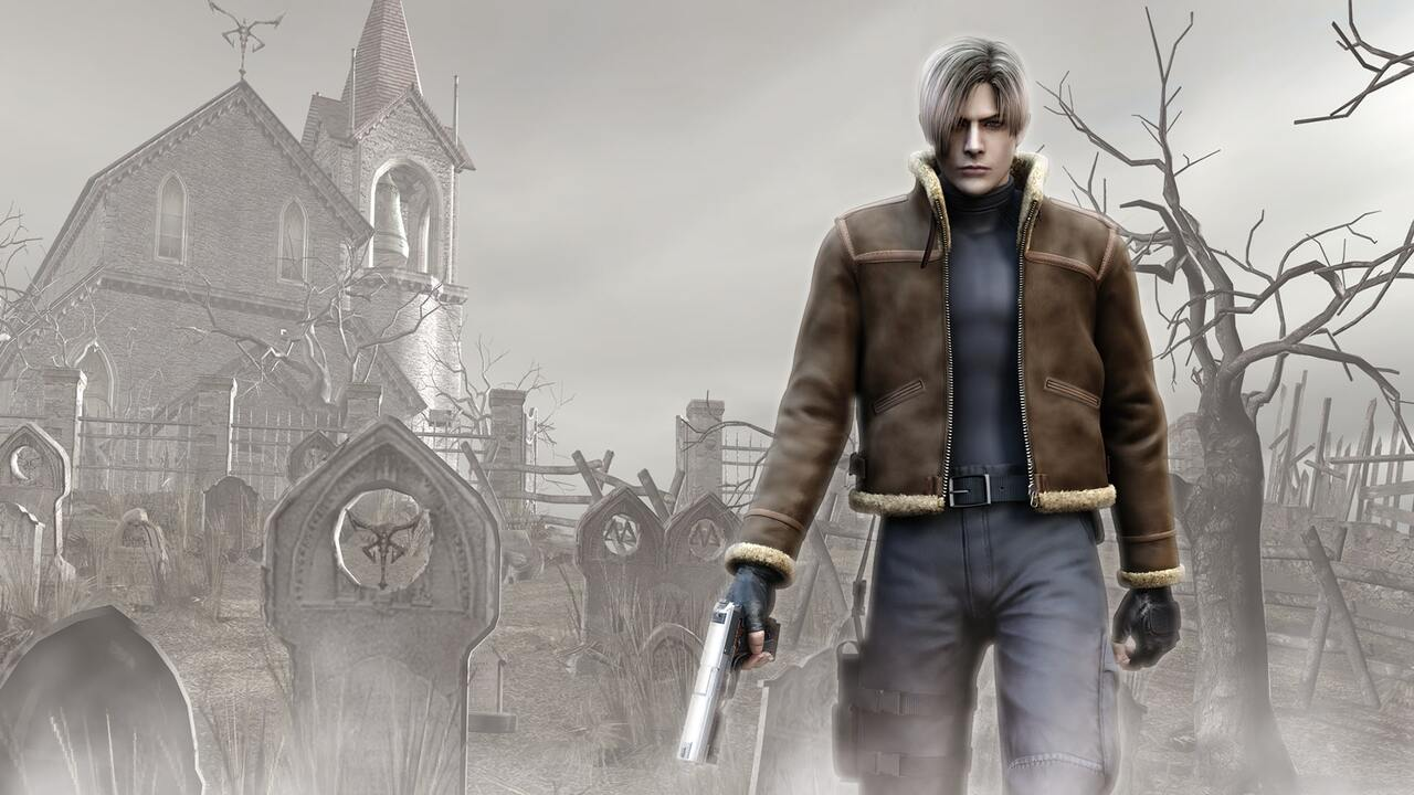 Leon Kennedy standing outside of a foreboding building