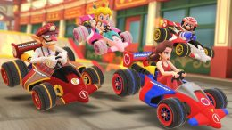 Mario, Pauline, Baby Peach and Waluigi racing together