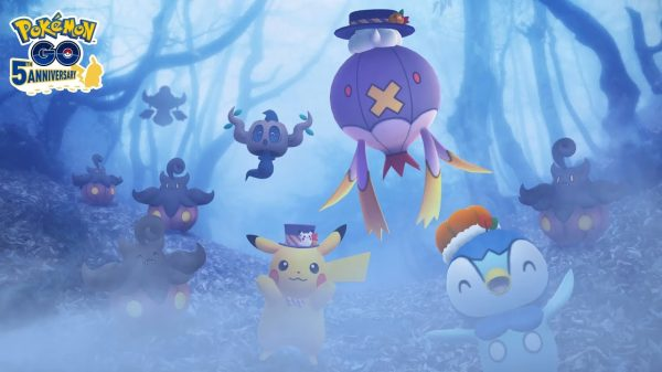 Pokémon GO Halloween Event image feating Pikachu, Drifblim and Piplup in Halloween outfits, as well as Phantump and Pumpkaboo