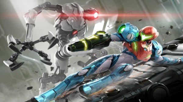 Metroid's Samus fighting enemies with style..