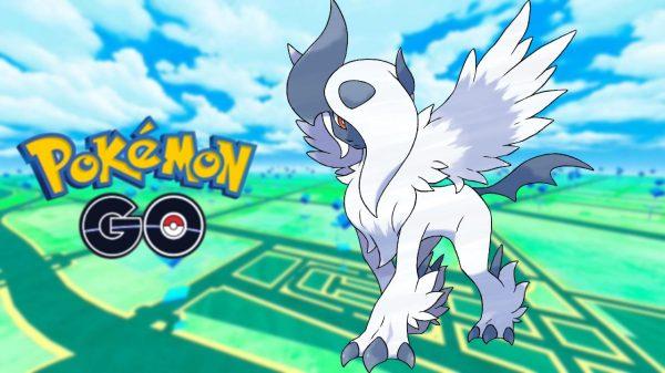 Mega Absol on a Pokémon GO background