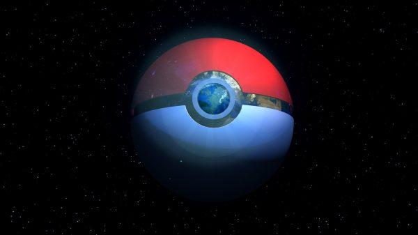 Pokeball planet symbolising dark-type Pokemon
