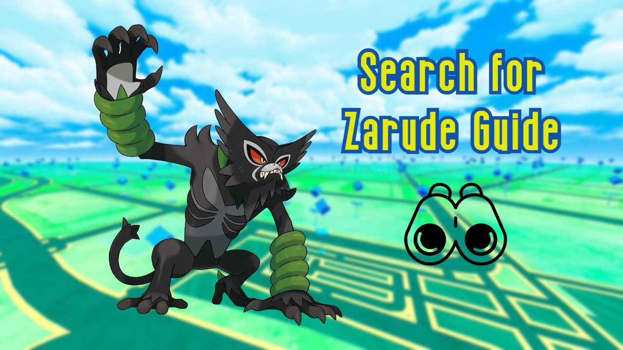 Zarude on a Pokémon GO background with the Research Task icon and titles 'Search for Zarude Guide'