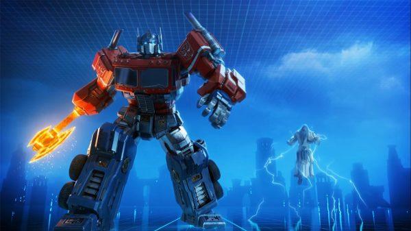 Optimus Prime standing with Zeus