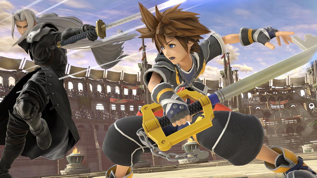 Sora fighting Sephiroth in Super Smash Bros. Ultimate